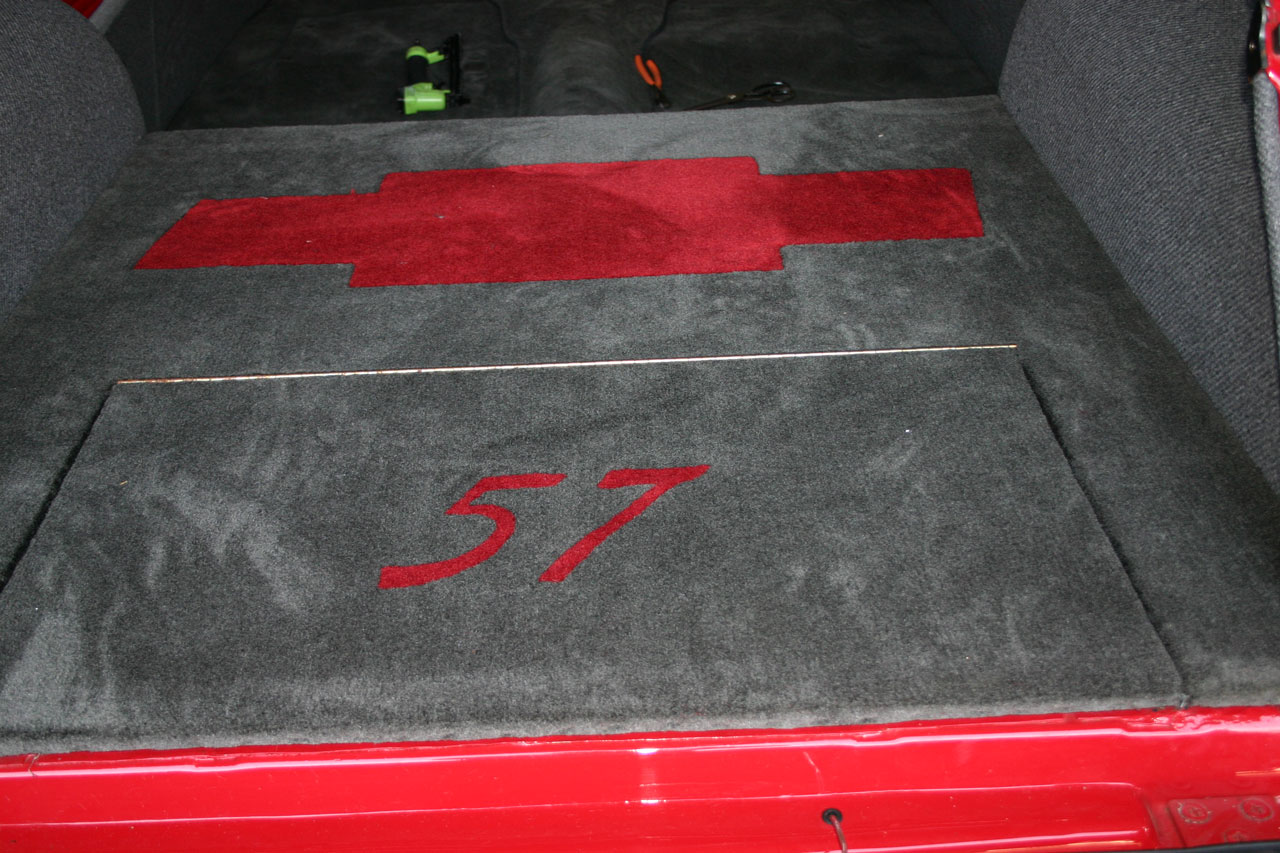 1957 Chevy Bel Air Custom Trunk Upholstery with Chevy Logo and Year